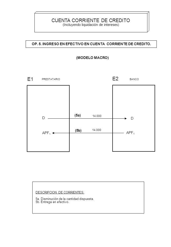 OP. 5. INGRESO EN EFECTIVO EN CUENTA CORRIENTE DE CREDITO.