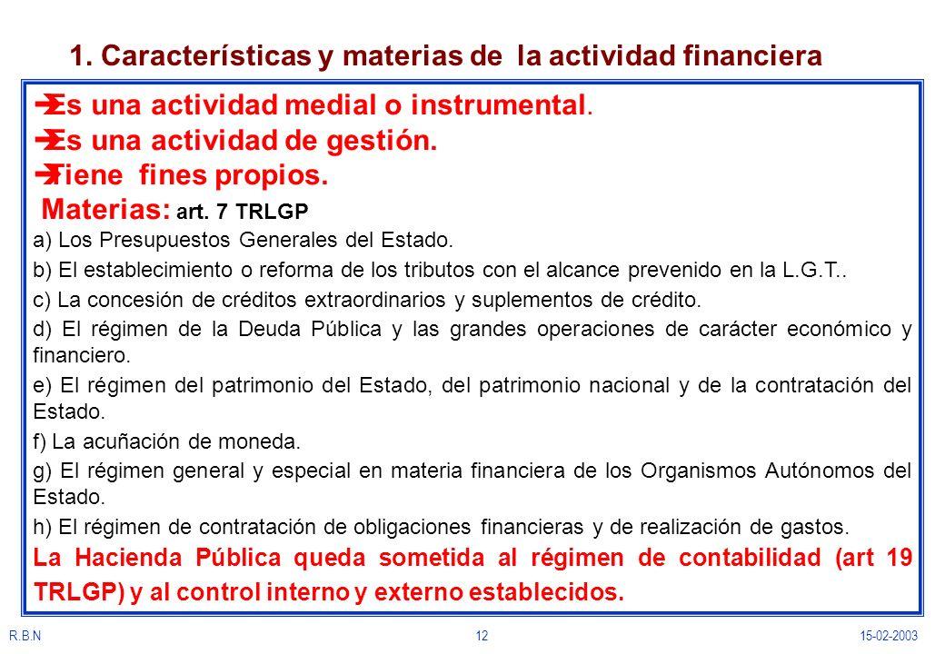 1. Características y materias de la actividad financiera