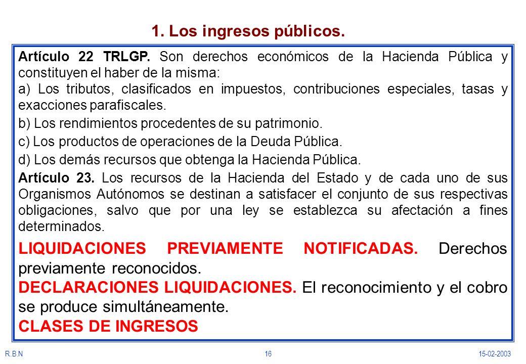 1. Los ingresos públicos. Artículo 22 TRLGP. Son derechos económicos de la Hacienda Pública y constituyen el haber de la misma: