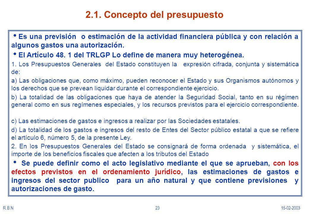 2.1. Concepto del presupuesto