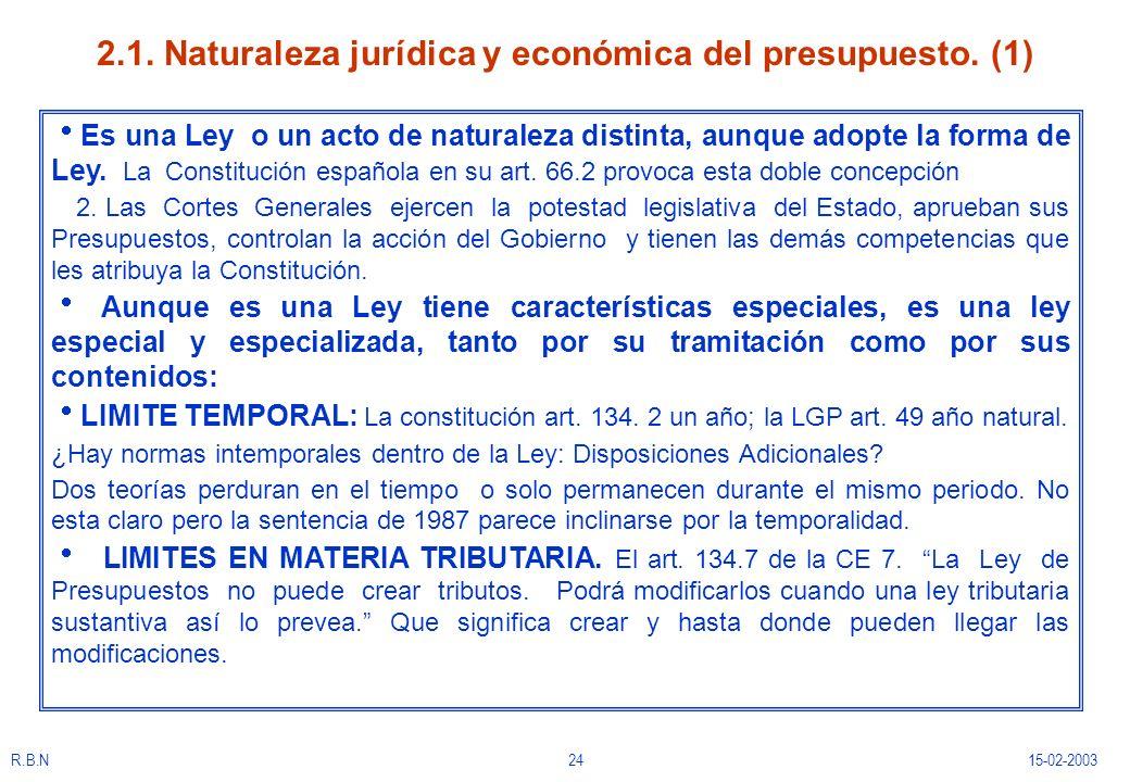 2.1. Naturaleza jurídica y económica del presupuesto. (1)