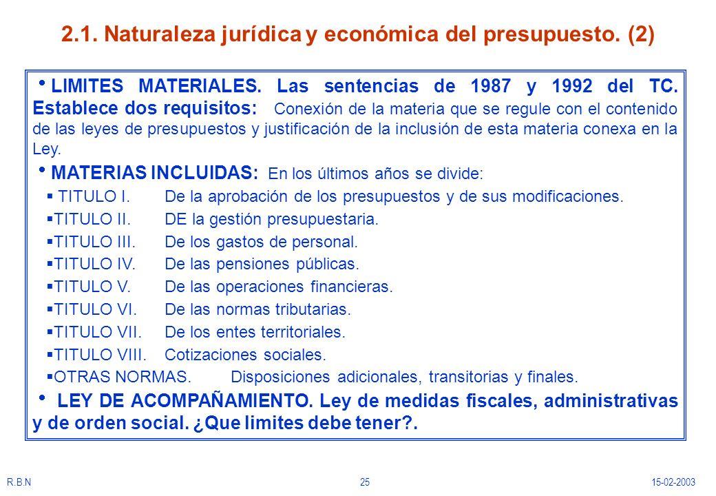 2.1. Naturaleza jurídica y económica del presupuesto. (2)