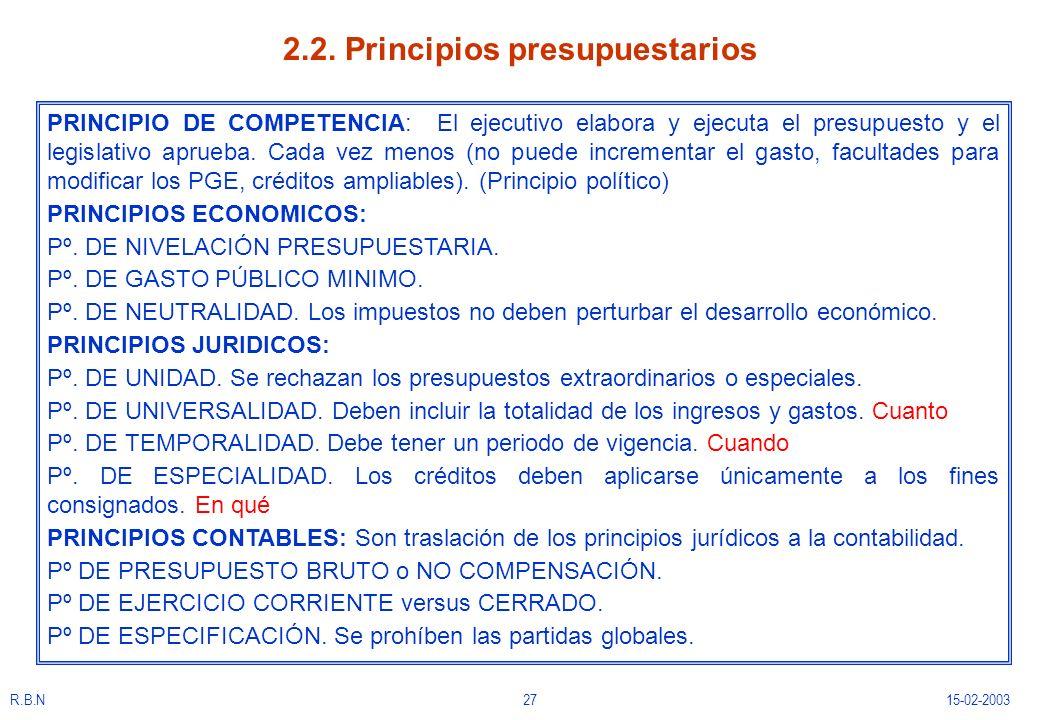 2.2. Principios presupuestarios