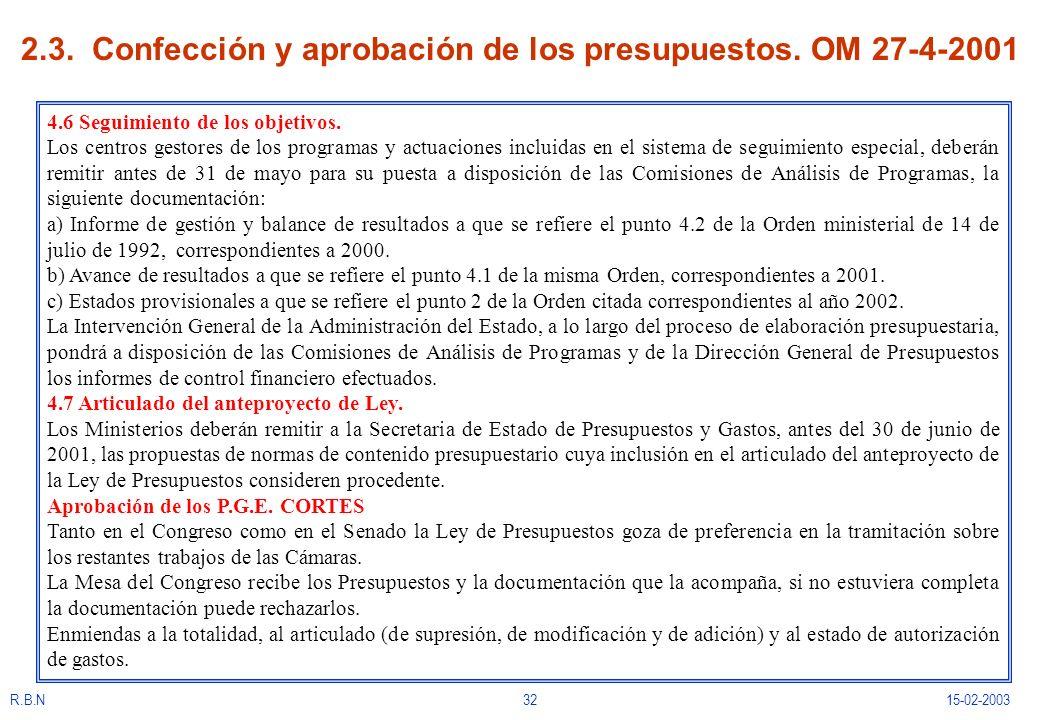 2.3. Confección y aprobación de los presupuestos. OM 27-4-2001