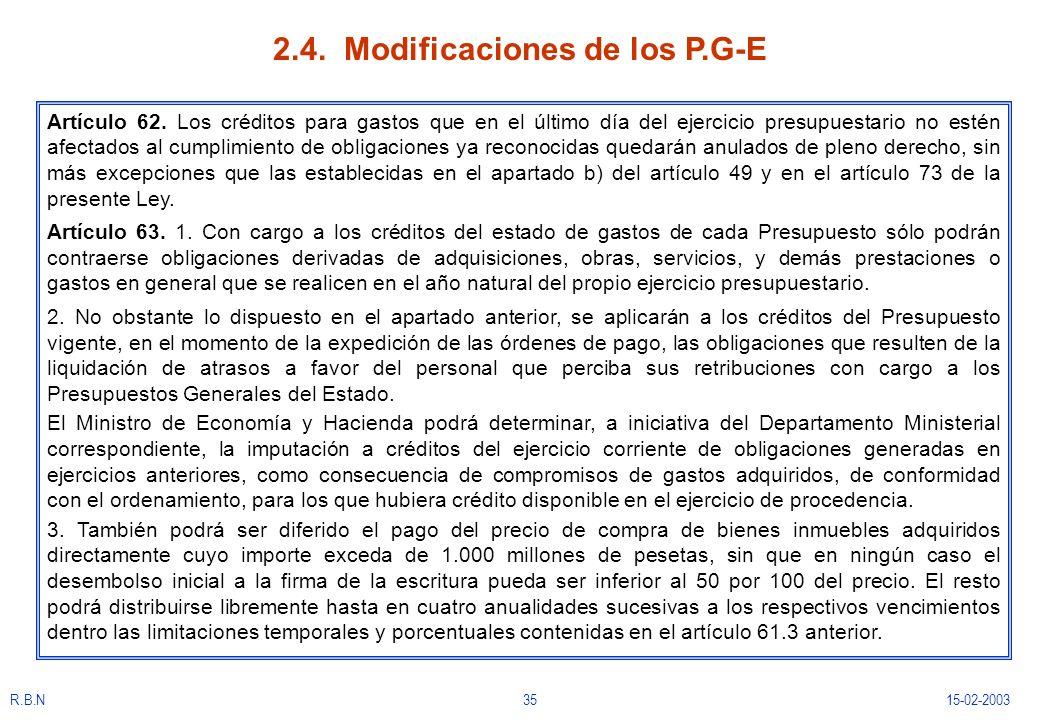 2.4. Modificaciones de los P.G-E