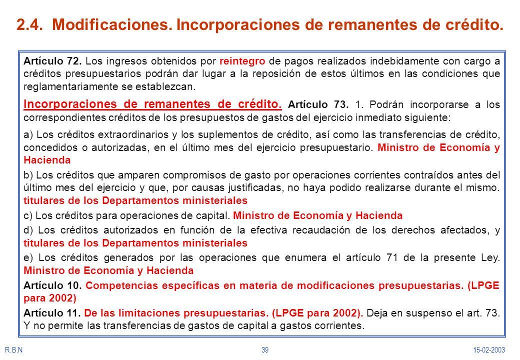 2.4. Modificaciones. Incorporaciones de remanentes de crédito.