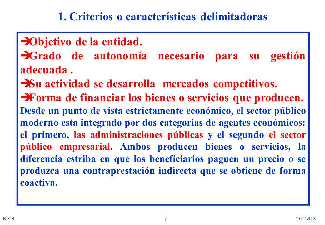 1. Criterios o características delimitadoras