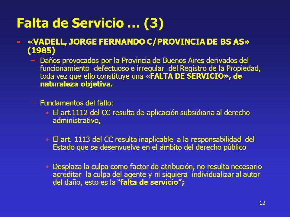 Falta de Servicio … (3)«VADELL, JORGE FERNANDO C/PROVINCIA DE BS AS» (1985)