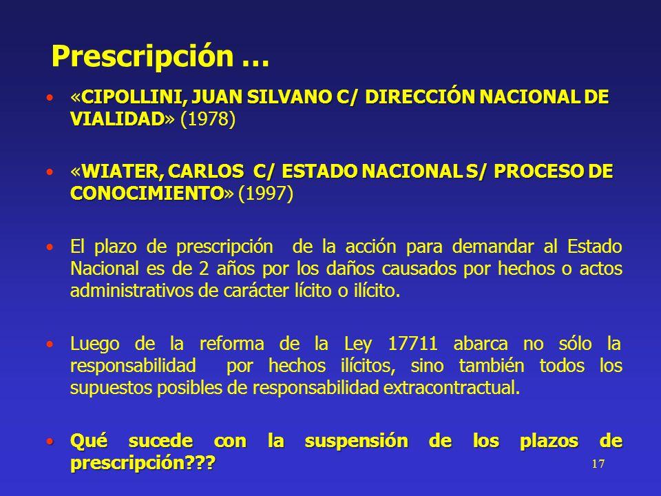 Prescripción …«CIPOLLINI, JUAN SILVANO C/ DIRECCIÓN NACIONAL DE VIALIDAD» (1978)