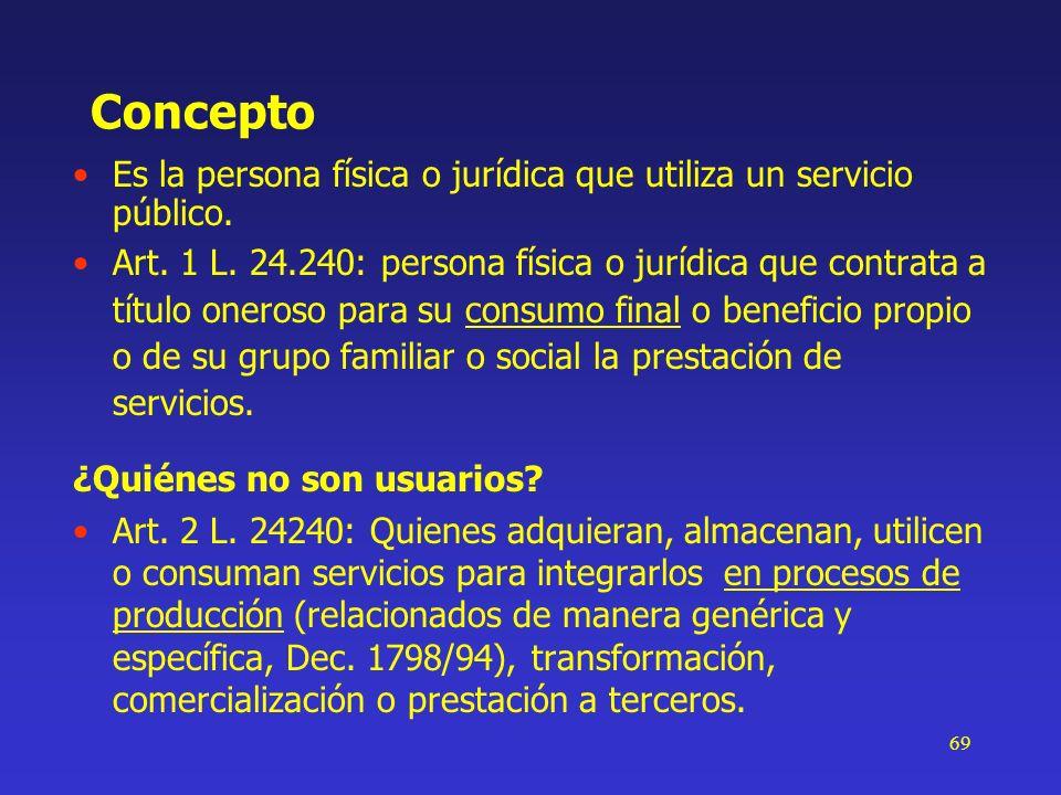 ConceptoEs la persona física o jurídica que utiliza un servicio público.