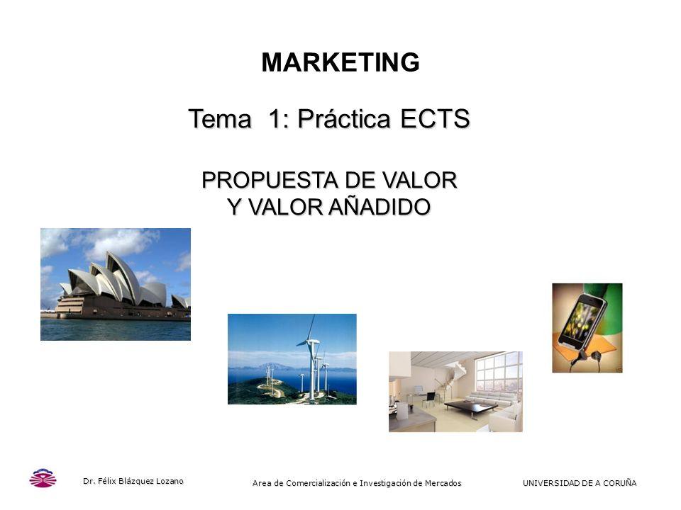 MARKETING Tema 1: Práctica ECTS PROPUESTA DE VALOR Y VALOR AÑADIDO 1