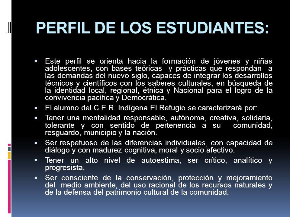 PERFIL DE LOS ESTUDIANTES: