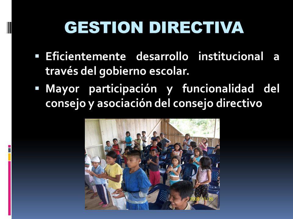 GESTION DIRECTIVA Eficientemente desarrollo institucional a través del gobierno escolar.