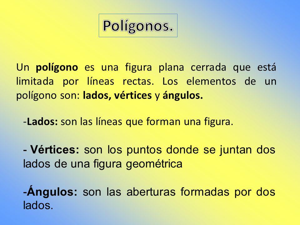 Polígonos. Un polígono es una figura plana cerrada que está limitada por líneas rectas. Los elementos de un polígono son: lados, vértices y ángulos.