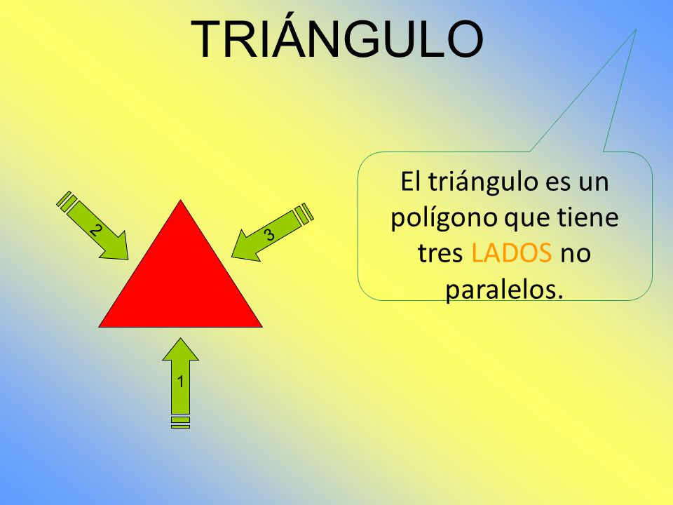 El triángulo es un polígono que tiene tres LADOS no paralelos.