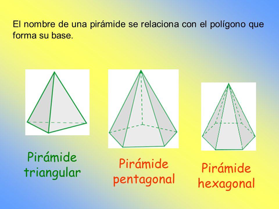 Pirámide triangular Pirámide pentagonal Pirámide hexagonal
