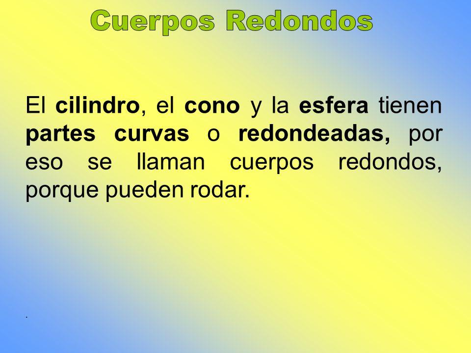 Cuerpos Redondos El cilindro, el cono y la esfera tienen partes curvas o redondeadas, por eso se llaman cuerpos redondos, porque pueden rodar.