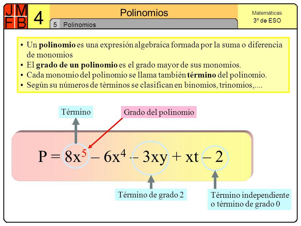 5 Polinomios. Un polinomio es una expresión algebraica formada por la suma o diferencia de monomios.