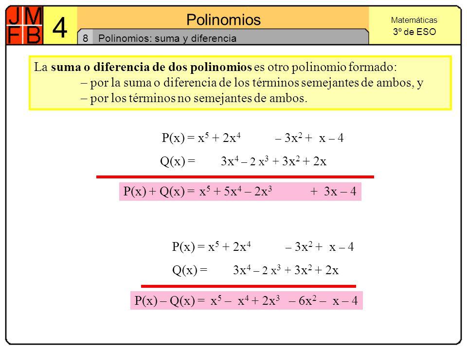Polinomios: suma y diferencia