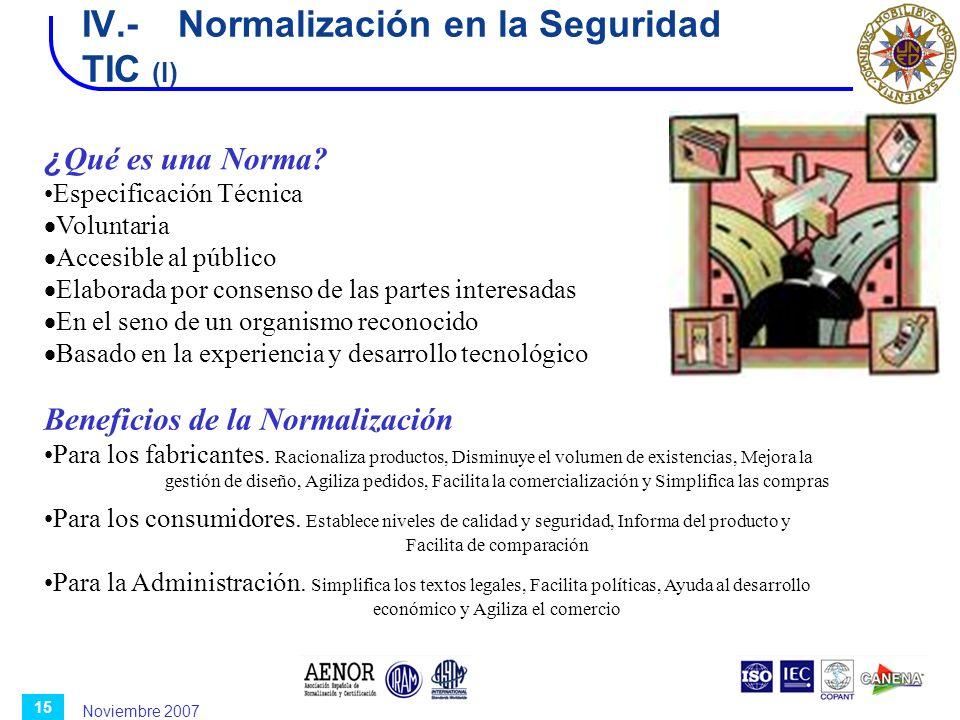 IV.- Normalización en la Seguridad TIC (I)