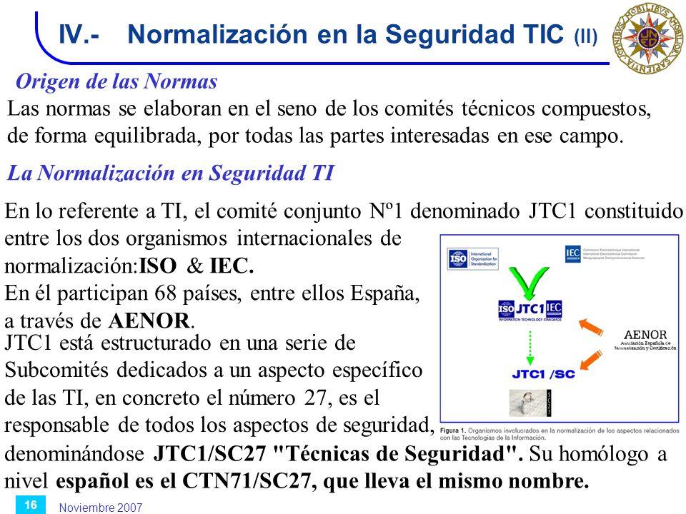 IV.- Normalización en la Seguridad TIC (II)