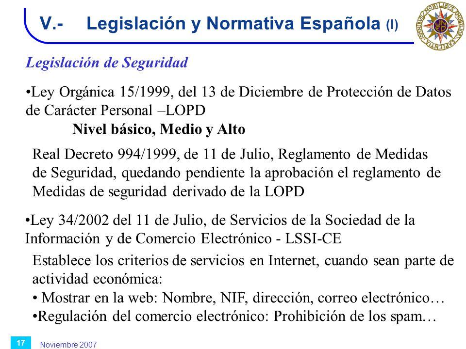 V.- Legislación y Normativa Española (I)