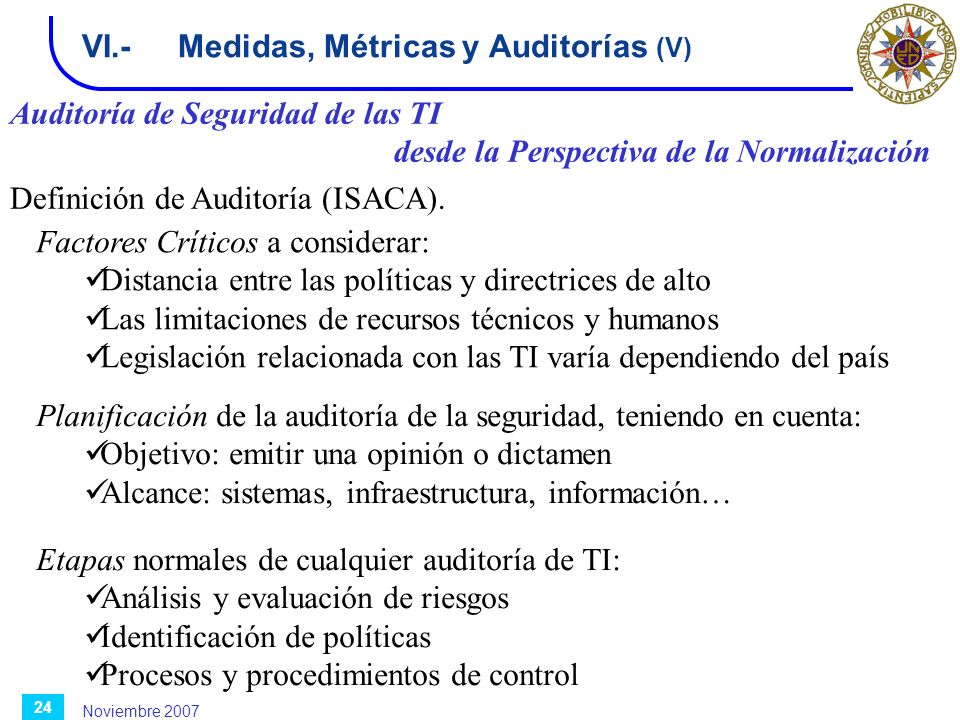 VI.- Medidas, Métricas y Auditorías (V)