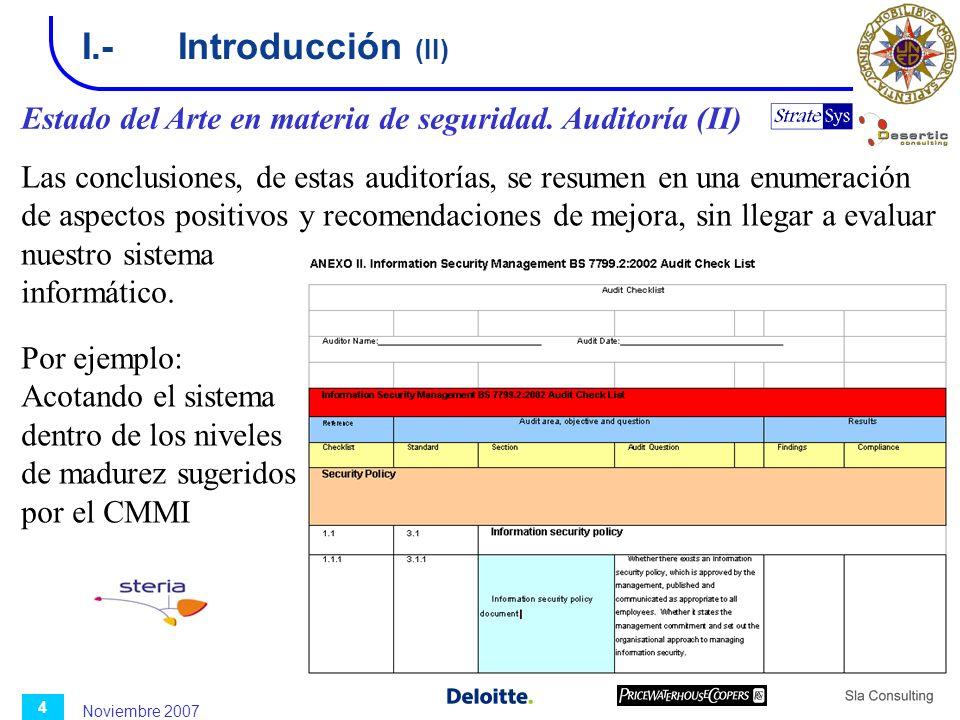 I.- Introducción (II) Estado del Arte en materia de seguridad. Auditoría (II)