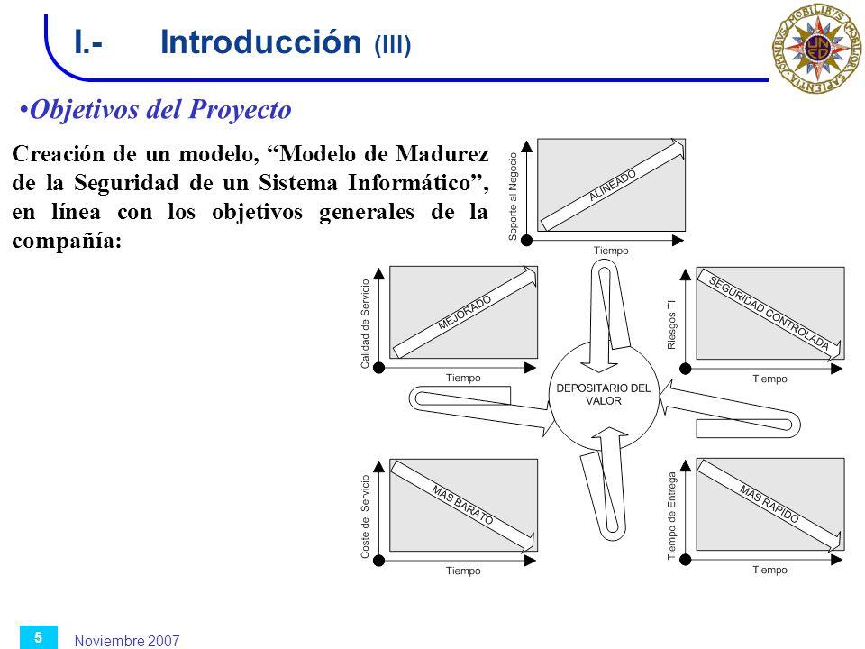 I.- Introducción (III) Objetivos del Proyecto
