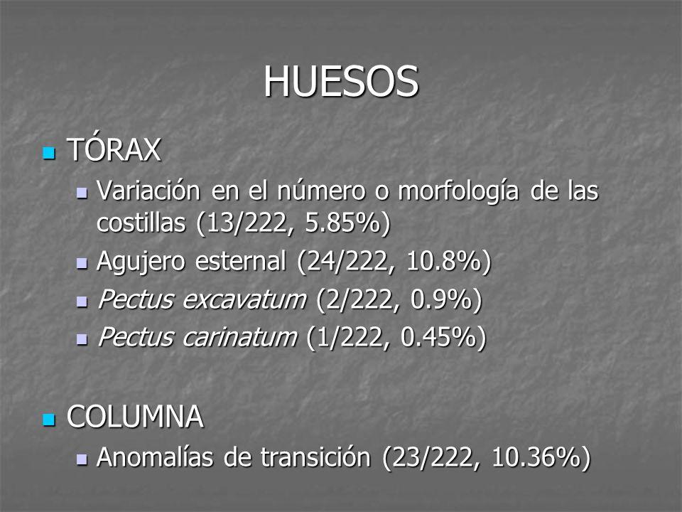 HUESOS TÓRAX Variación en el número o morfología de las costillas ...