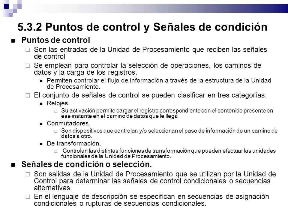 5.3.2 Puntos de control y Señales de condición