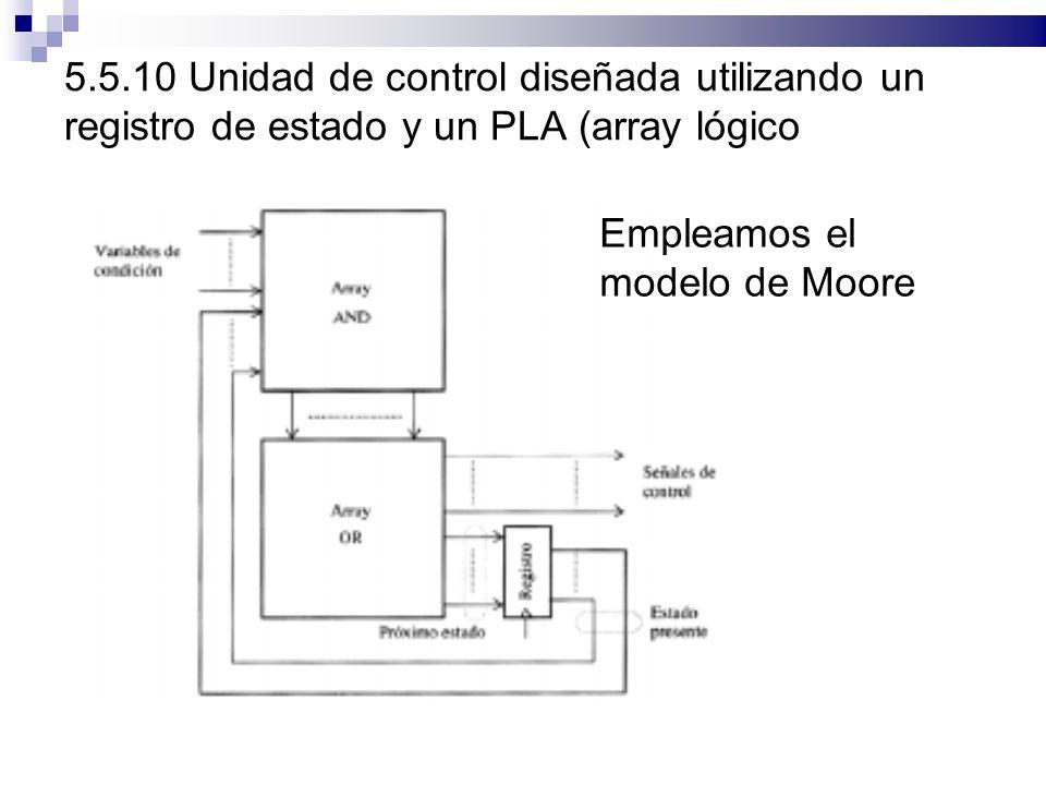 5.5.10 Unidad de control diseñada utilizando un registro de estado y un PLA (array lógico programable)