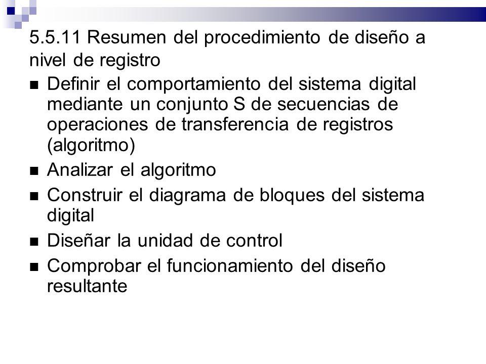 5.5.11 Resumen del procedimiento de diseño a nivel de registro