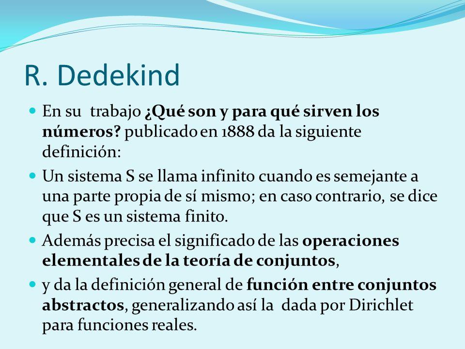 R. Dedekind En su trabajo ¿Qué son y para qué sirven los números publicado en 1888 da la siguiente definición: