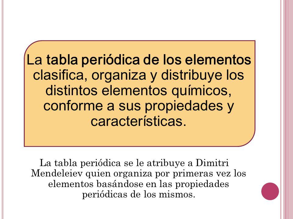Tabla peridica ppt video online descargar la tabla peridica de los elementos clasifica organiza y distribuye los distintos elementos qumicos urtaz Image collections