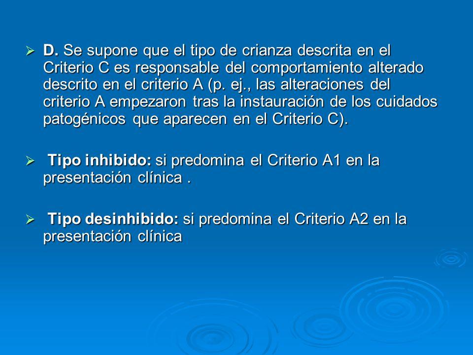 D. Se supone que el tipo de crianza descrita en el Criterio C es responsable del comportamiento alterado descrito en el criterio A (p. ej., las alteraciones del criterio A empezaron tras la instauración de los cuidados patogénicos que aparecen en el Criterio C).