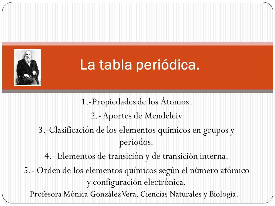 la tabla peridica 1 propiedades de los tomos - Tabla Periodica Elementos De Transicion Interna