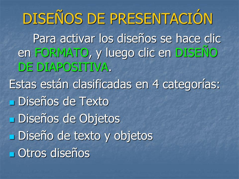 DISEÑOS DE PRESENTACIÓN