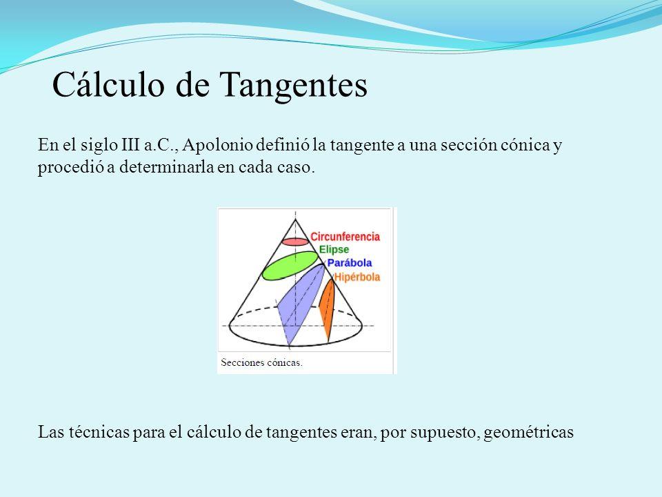 Cálculo de Tangentes En el siglo III a.C., Apolonio definió la tangente a una sección cónica y procedió a determinarla en cada caso.