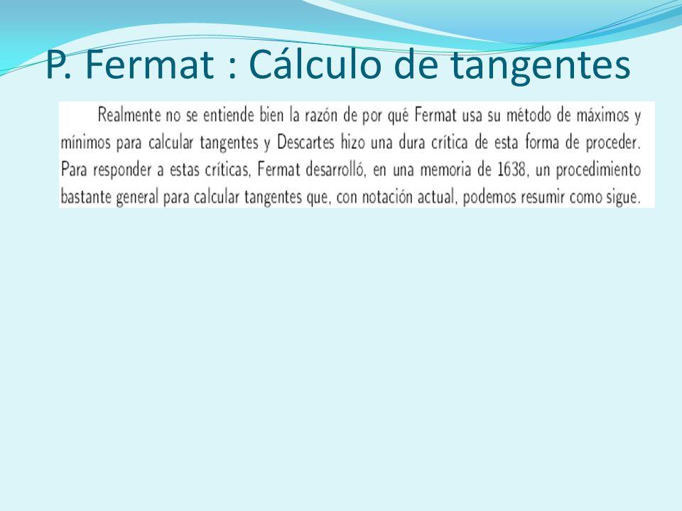 P. Fermat : Cálculo de tangentes