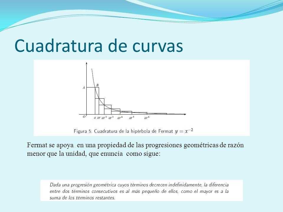 Cuadratura de curvas Fermat se apoya en una propiedad de las progresiones geométricas de razón menor que la unidad, que enuncia como sigue: