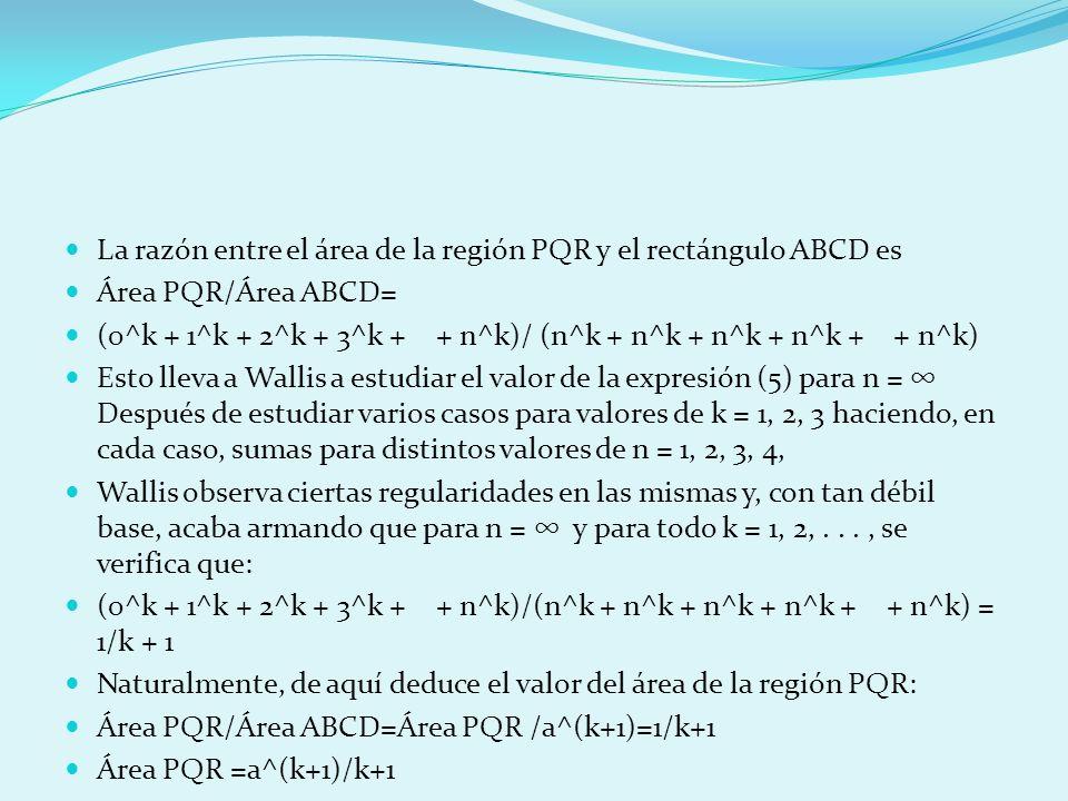 La razón entre el área de la región PQR y el rectángulo ABCD es