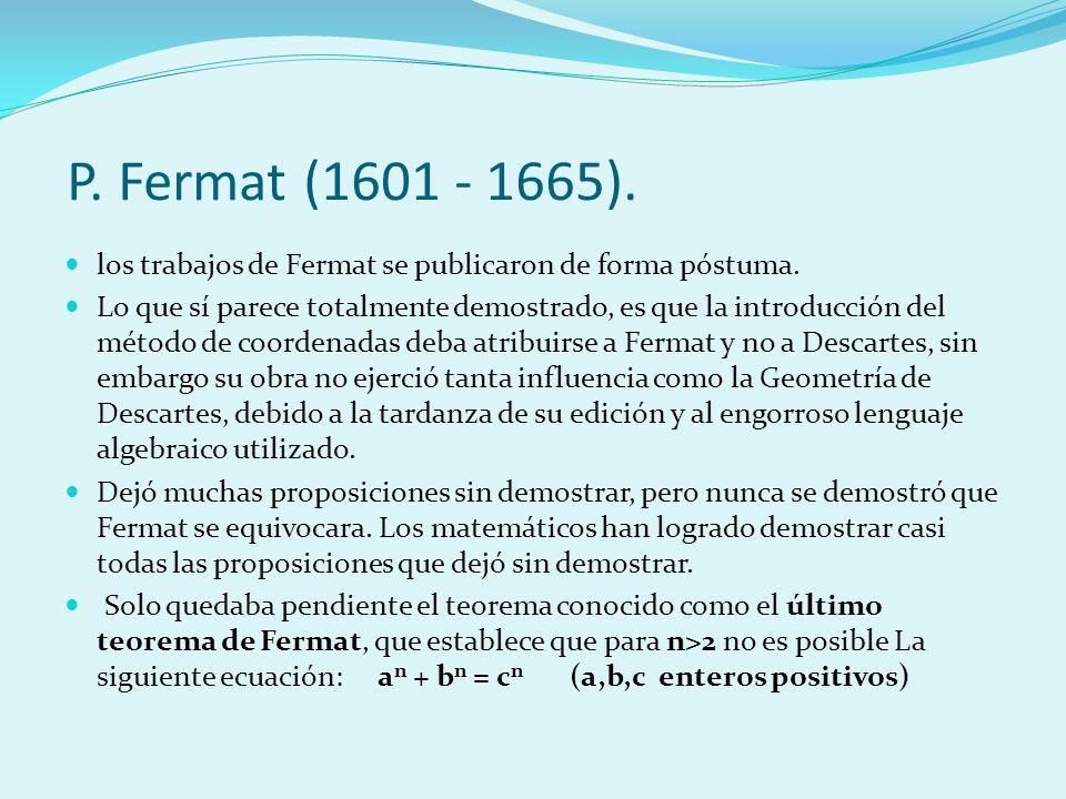 P. Fermat (1601 - 1665). los trabajos de Fermat se publicaron de forma póstuma.