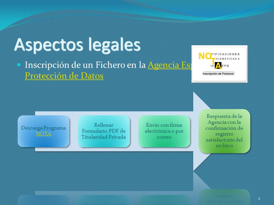 Aspectos legales Inscripción de un Fichero en la Agencia Española de Protección de Datos. Descarga Programa NOTA.