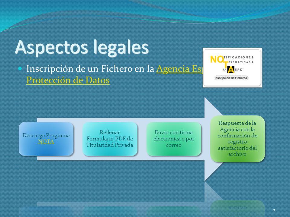 Aspectos legalesInscripción de un Fichero en la Agencia Española de Protección de Datos. Descarga Programa NOTA.