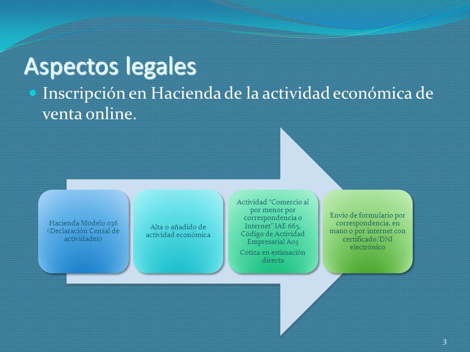 Aspectos legalesInscripción en Hacienda de la actividad económica de venta online. Hacienda Modelo 036 (Declaración Censal de actividades)