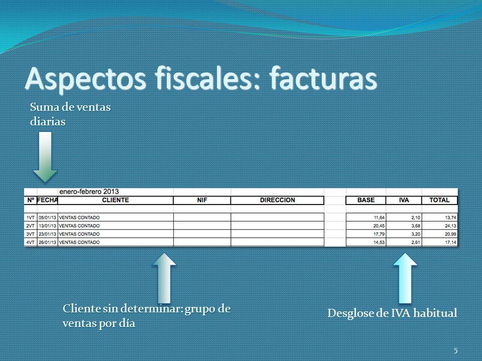 Aspectos fiscales: facturas