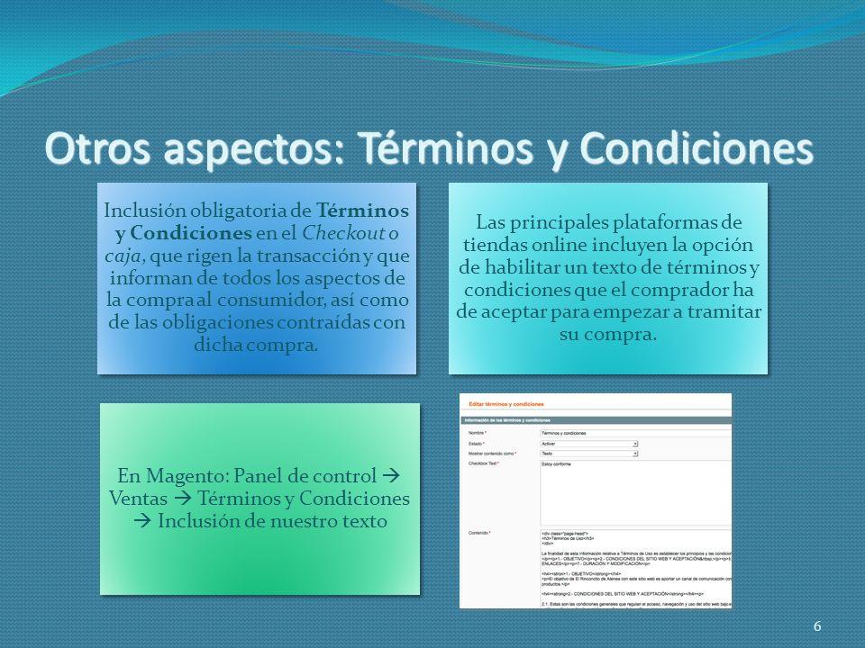 Otros aspectos: Términos y Condiciones