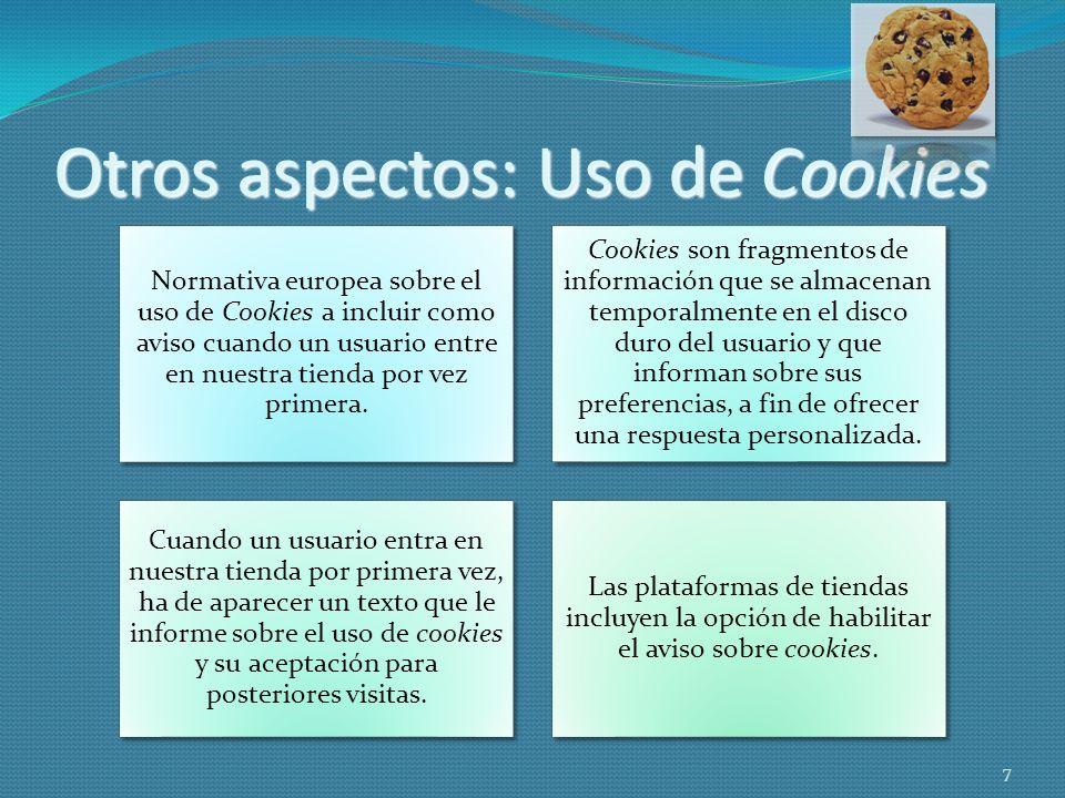 Otros aspectos: Uso de Cookies