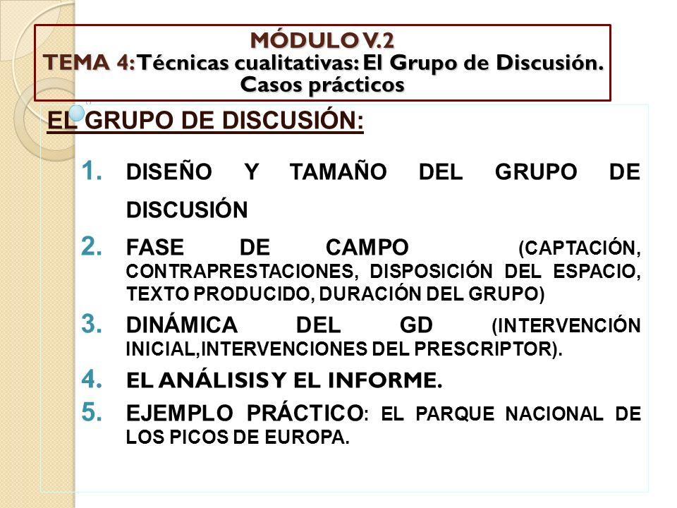 MÓDULO V. 2 TEMA 4: Técnicas cualitativas: El Grupo de Discusión